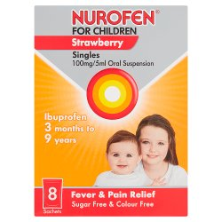 Nurofen for Children Strawberry Singles 100mg/5ml Oral Suspension 8 x 5ml Sachets