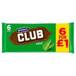 McVitie's Club Mint 6 x 22g (132g)