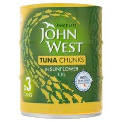 John West Tuna Chunks in Sunflower Oil 3 x 145g