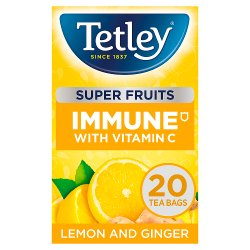 Tetley Super Fruits Immune Lemon & Ginger Tea Bags x20