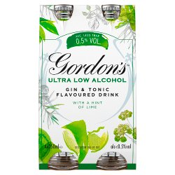 Gordon's Ultra-Low Alcohol Gin & Tonic with a Hint of Lime 4 x 250ml