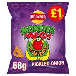 Walkers Monster Munch Pickled Onion Snacks PMP 68g