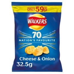 Walkers Cheese & Onion Crisps PMP 32.5g