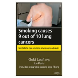 Gold Leaf JPS Ice Pack Includes Cigarette Papers and Filters 30g