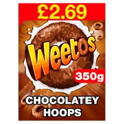 Weetos Chocolatey Hoops Cereal 8 x 350g PMP £2.69