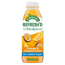 Robinsons Refresh'd Orange & Passion Fruit Spring Water with Real Fruit 500ml