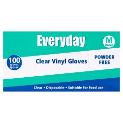 Everyday 100 Powder Free Clear Vinyl Gloves Medium