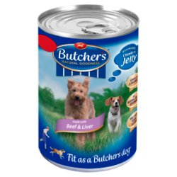 Butcher's Beef & Liver Chunks in Jelly Dog Food Tin 400g