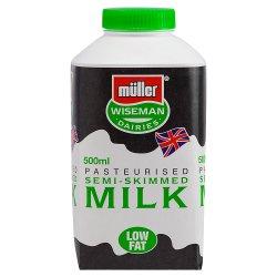 Müller Wiseman Dairies Pasteurised Semi-Skimmed Milk 500ml