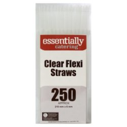 Essentially Catering 250 Clear Flexi Straws