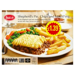 Best-in Shepherd's Pie, Chips and Mixed Veg 350g