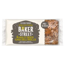 Baker Street 4 Pre-Sliced Multi Seed Chia Deli Rolls with Chia, Linseed, Sunflower Seed & Rye