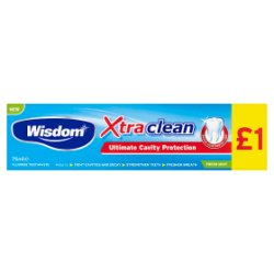 Wisdom Xtra Clean Ultimate Cavity Protection Fluoride Toothpaste Fresh Mint 75ml