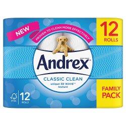 Andrex Classic Clean Toilet Tissue 12 Rolls