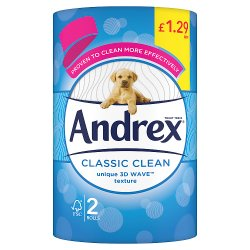 Andrex Classic Clean Toilet Tissue 2 Rolls x 12 200sc PMP