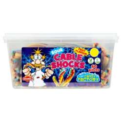 Crazy Candy Factory 60 Sour Cable Shocks Fruit Flavour 1.62kg