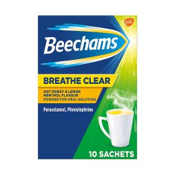 Beechams Breathe Clear Hot Honey & Lemon Menthol Flavour Sachets, 10s