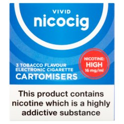 Vivid Nicocig 3 Tobacco Flavour Electronic Cigarette Cartomisers 16mg/ml