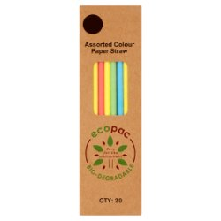 Ecopac 20 Assorted Colour Paper Straw 210mm