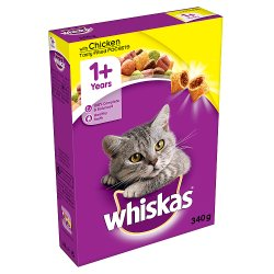 Whiskas Adult 1+ Complete Dry Cat Food with Chicken 340g