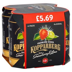 Kopparberg Premium Cider with Strawberry Lime 4 x 330ml