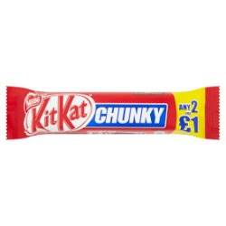 KITKAT Chunky Milk Chocolate Bar, 40g, 2 for £1