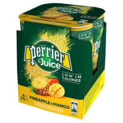 Perrier & Juice Sparkling Pineapple & Mango Water 4x250ml