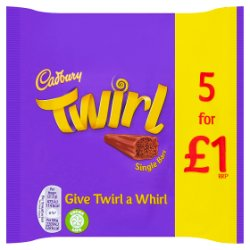 Cadbury Twirl £1 Chocolate Bar 5 Pack 107.5g