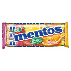 Mentos Fruit Chewy Dragees Rolls 3 x 38g (114g)