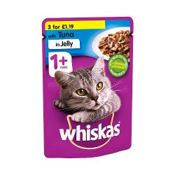 Whiskas Adult 1+ Wet Cat Food Pouches with Tuna in Jelly 100g