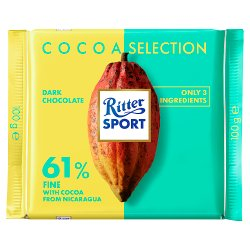 Ritter Sport Cocoa Selection 61% Fine from Nicaragua 100g