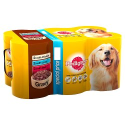 Pedigree Wet Dog Food Tins Mixed Variety Selection in Gravy 6 x 400g (PMP £4.25)
