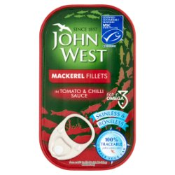 John West Mackerel Fillets in Tomato & Chilli Sauce 125g