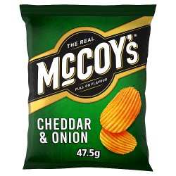 The Real McCoy's Cheddar & Onion Flavour Ridge Cut Potato Crisps 47.5g