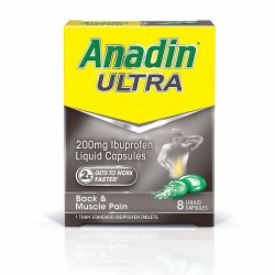 Anadin Ultra 200mg Ibuprofen 8 Liquid Capsules
