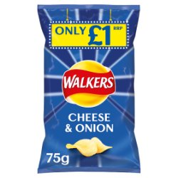 Walkers Cheese & Onion Crisps £1 PMP 75g