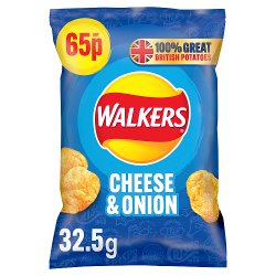 Walkers Cheese & Onion Crisps 65p RRP PMP 32.5g