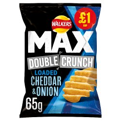Walkers Max Double Crunch Loaded Cheddar & Onion Crisps £1 PMP 65g