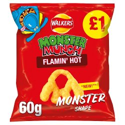 Walkers Monster Munch Flamin' Hot Snacks PMP 60g