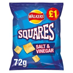 Walkers Squares Salt & Vinegar Flavour Potato Snacks 72g