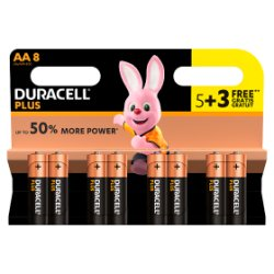 Duracell Plus AA Alkaline Batteries, Pack of 5 + 3 Free