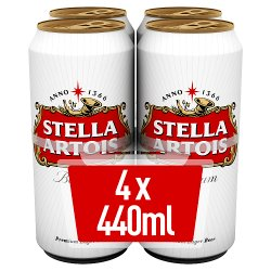 Stella Artois Lager Beer Cans 4 x 440ml