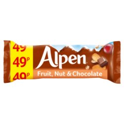 Alpen Cereal Bars Fruit & Nut & Chocolate 24 x 29g PMP 49p