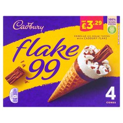 Cadbury Flake 99 Ice Cream Cones 4 x 125ml