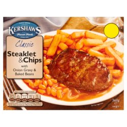 Kershaws Classic Steaklet & Chips with Onion Gravy & Baked Beans 360g