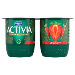 Danone Activia 0percent Strawberry Yoghurt 4pack