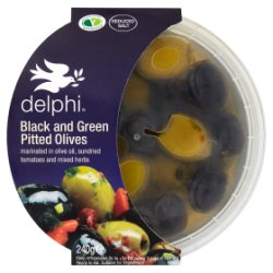 Delphi Black and Green Pitted Olives 240g