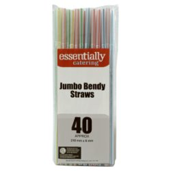 Essentially Catering Jumbo Bendy Straws 12 x 40