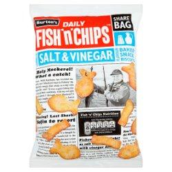 Burton's Daily Fish 'n' Chips Salt & Vinegar Flavour Baked Snack Biscuits 125g