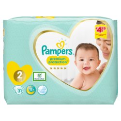 Pampers Premium Protection Size 2, 31 Nappies, 4-8kg, Carry Pack